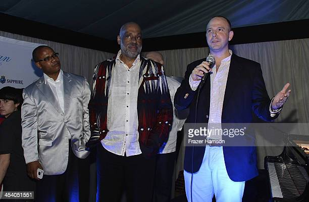 Artist Daniel Simmons Jr Andre Guichard and Brand Director Bombay Gins Ned Duggan attend the Bombay Sapphire artisan series finale dinner hosted by...