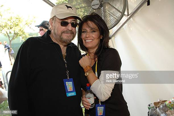 NEW YORK SEPTEMBER 09 Artist Danielle Evin and Producer Phil Ramone during a press confrence at Farm Aid 2007 at ICAHN Stadium on Randall's Island NY...
