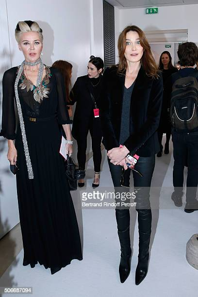 Artist Daphne Guinness and Singer Carla Bruni Sarkozy attend the Schiaparelli Haute Couture Spring Summer 2016 show as part of Paris Fashion Week on...