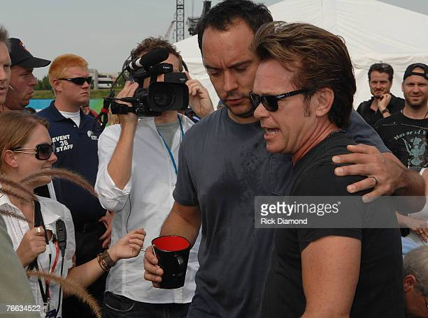 Artist Dave Matthews and Artist John Mellencamp enter The Press Confrence at Farm Aid 2007 AT ICAHN Stadium on Randall's Island NY September 92007