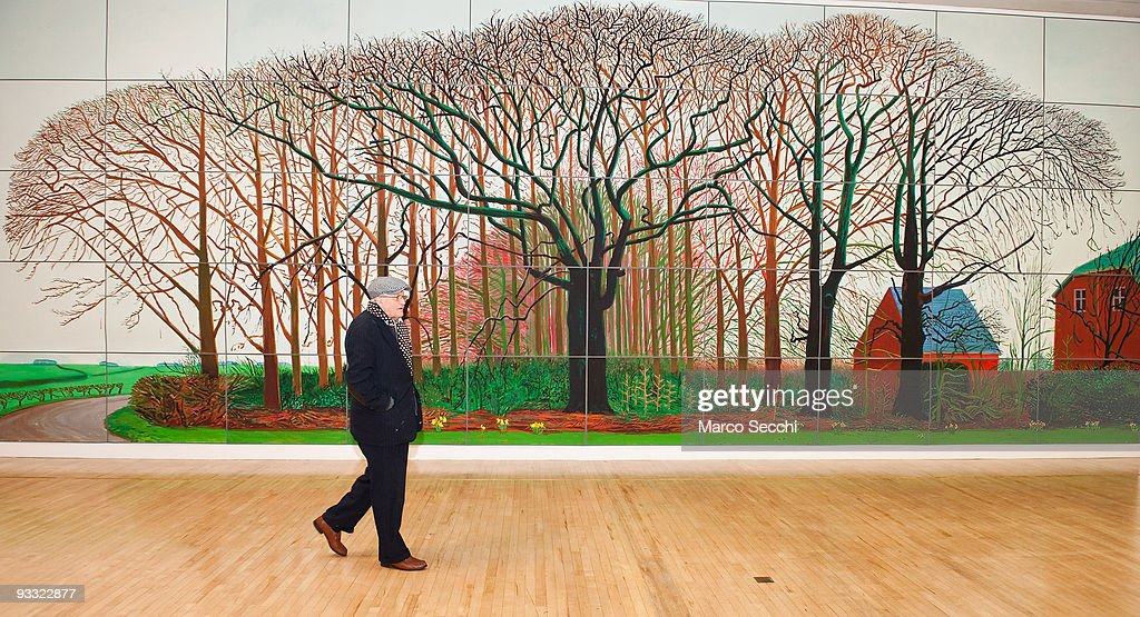 David Hockney Introduces His Painting - Bigger Trees Near Warter : News Photo