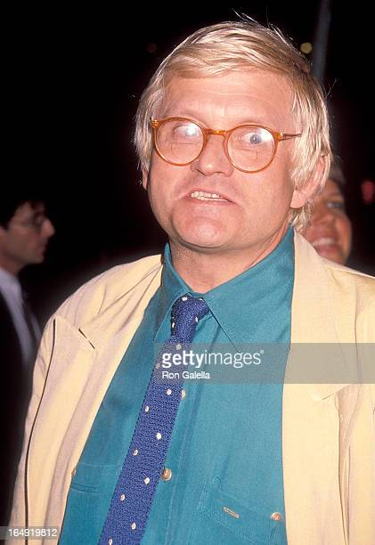 Artist David Hockney attends the 'Pacific Heights' Westwood Premiere on September 24 1990 at Avco Center Cinemas in Westwood California