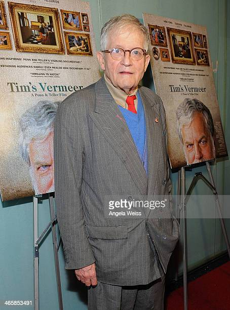 Artist David Hockney attends the premiere of Sony Pictures Classics' 'Tim's Vermeer' at Pacific Design Center on January 29 2014 in West Hollywood...