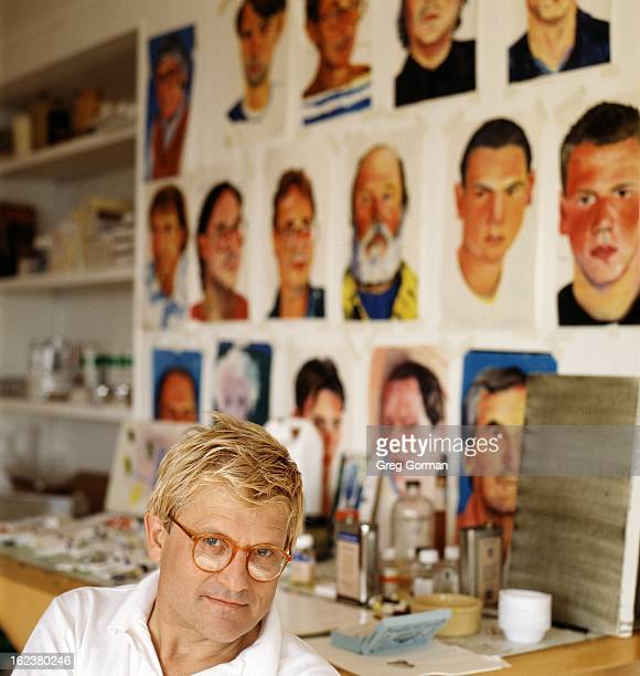 Artist David Hockney is photographed for Self Assignment on January 1 1990 in Los Angeles California