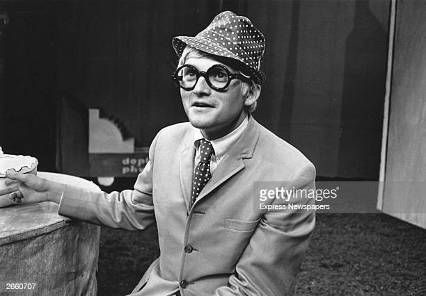 Artist David Hockney on the set of 'UBU ROI' at the Royal Court Theatre London