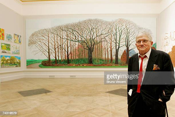 Artist David Hockney poses infront of his work 'Bigger Trees Near Warter' at the Royal Academy of Art on May 25 2007 in London