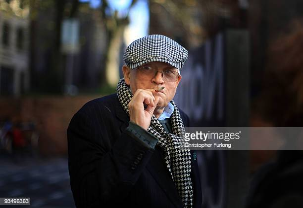 Artist David Hockney smokes a cigarette during a break from a tour of the new Nottingham Contemporary art space which is holding a major...