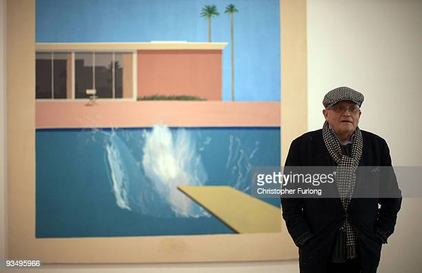 Artist David Hockney stands by 'A bigger splash 1967' one of his works on display at the new Nottingham Contemporary art space which is holding a...