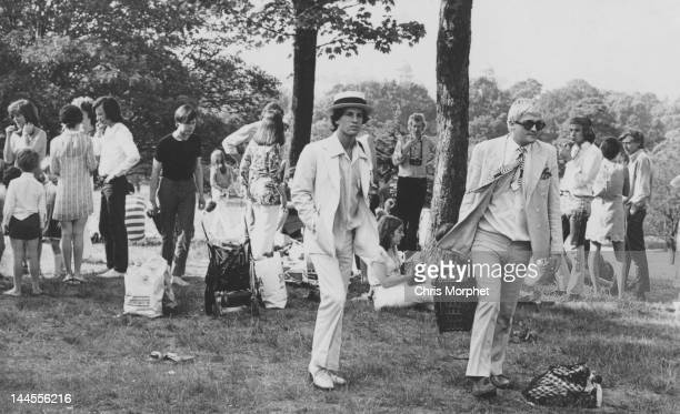 Artist David Hockney with his partner Peter Schlesinger at a picnic in Greenwich Park London 7th June 1969