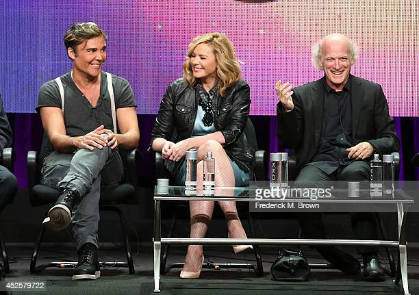 """Artist David LaChapelle, actress Kim Cattrall, and filmmaker/photographer Timothy Greenfield-Sanders speak onstage during the AMERICAN MASTERS """"The..."""