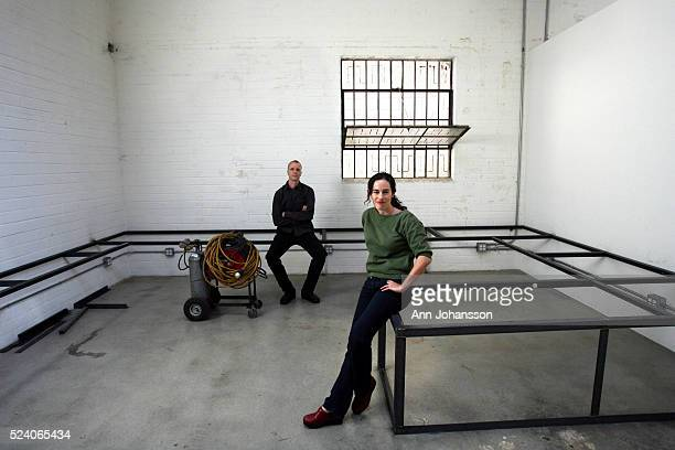 Artist David Thorne and media artist Julia Meltzer pose for a portrait in what will be their editing space in Los Angeles. The couple is showing at...