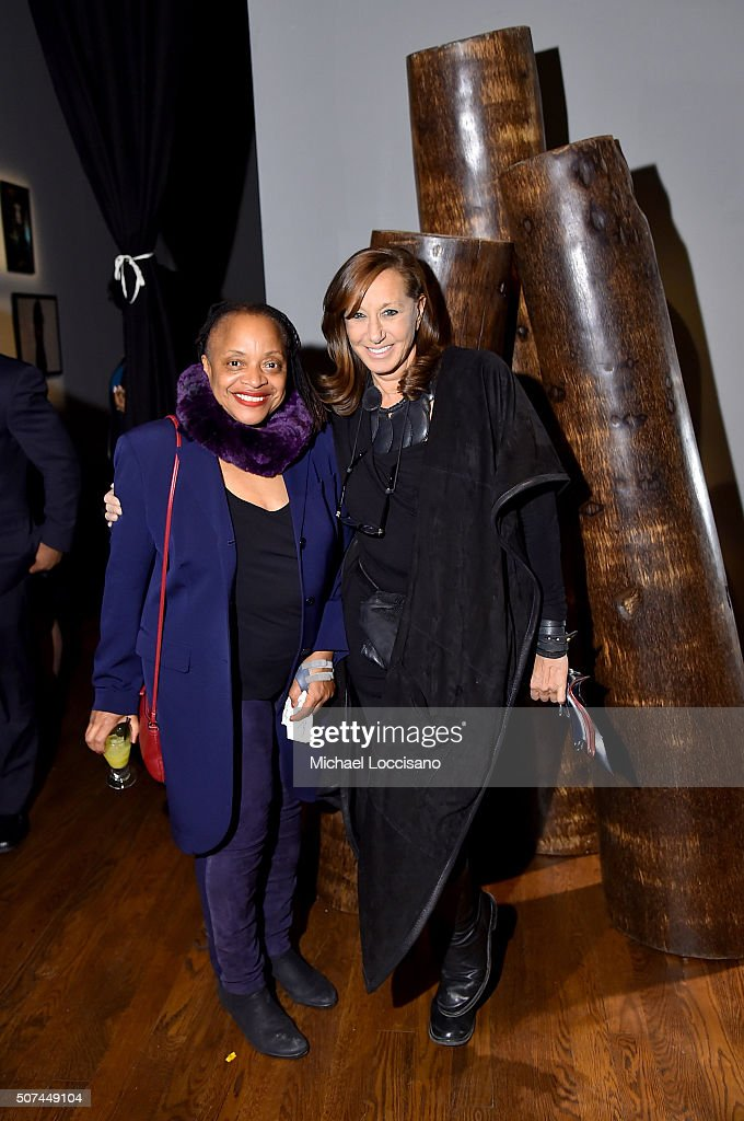 Artist Deborah Willis (L) and designer Donna Karan attend Art For Social Justice, Usher Raymond IV, Daniel Arhsam and TIDAL debut Chains at Urban Zen on January 29, 2016 in New York City.