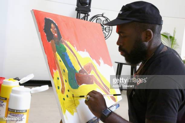 Artist Derrick Adams attends No Commission: Miami presented by BACARDÍ x The Dean Collection on December 7, 201 at Faena Forum on December 7, 2018 in...