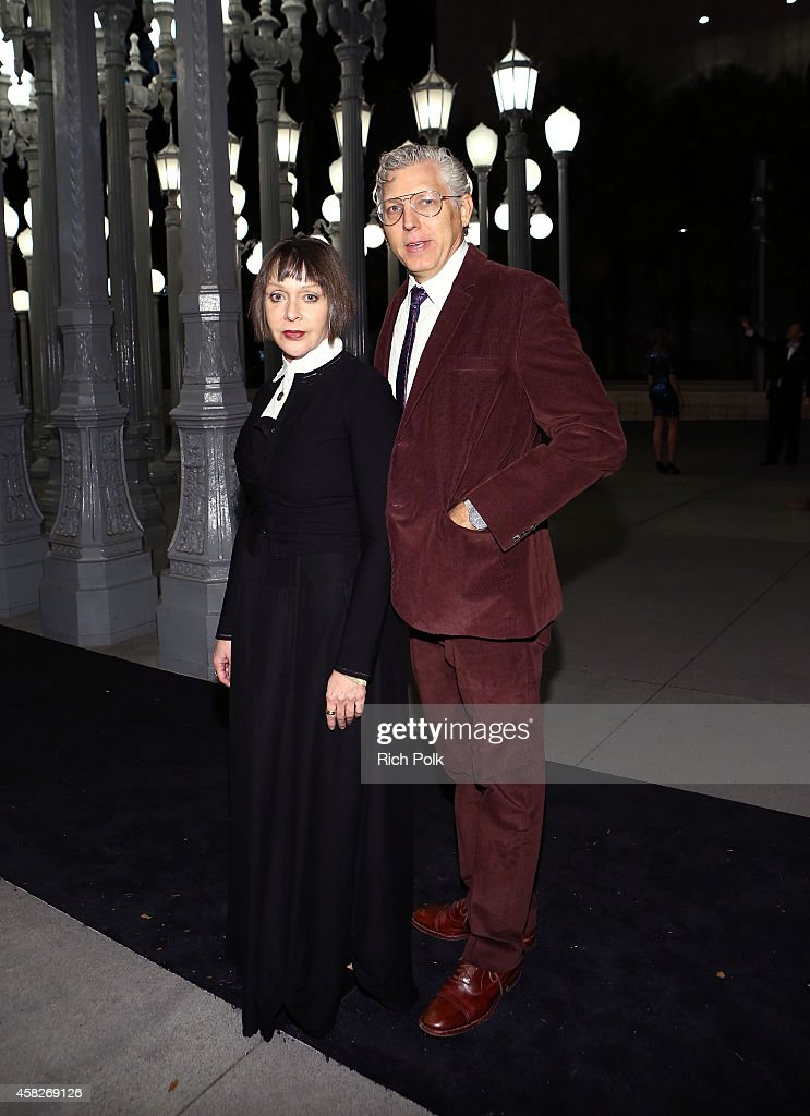 Artist Diana Thater (L) and T. Kelly Mason attend the 2014 LACMA Art + Film Gala honoring Barbara Kruger and Quentin Tarantino presented by Gucci at LACMA on November 1, 2014 in Los Angeles, California.