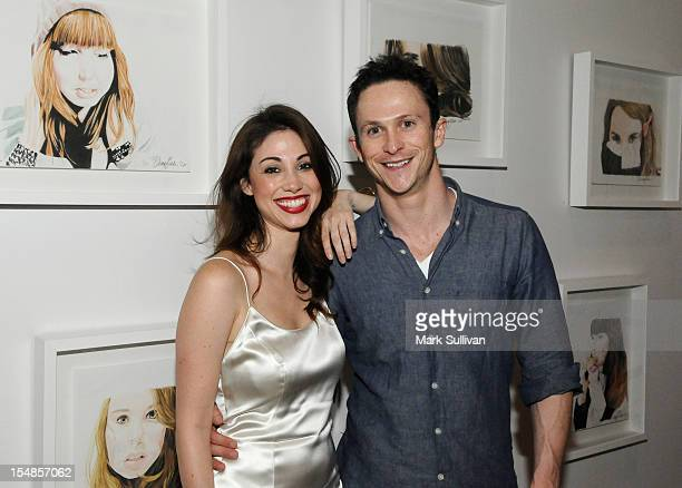 Artist Diane MarshallGreen and Jonathan Tucker during the opening reception for Diane MarshallGreen's Lolitas at America Martin Gallery on October 27...