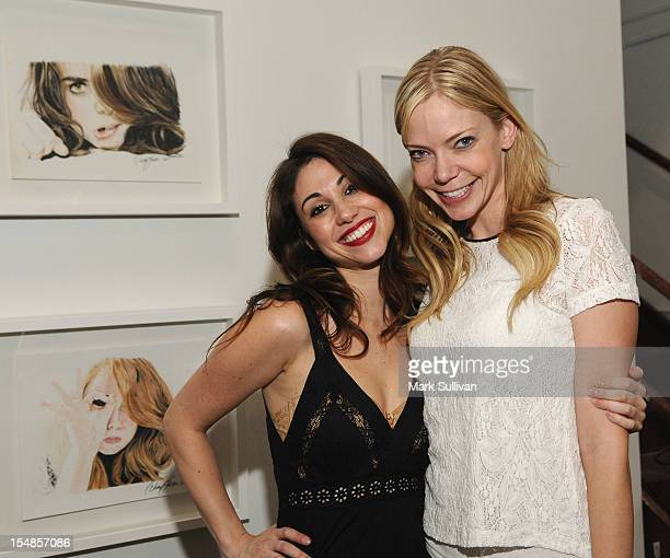 Artist Diane MarshallGreen and Riki Lindhome during the opening reception for Diane MarshallGreen's Lolitas at America Martin Gallery on October 27...