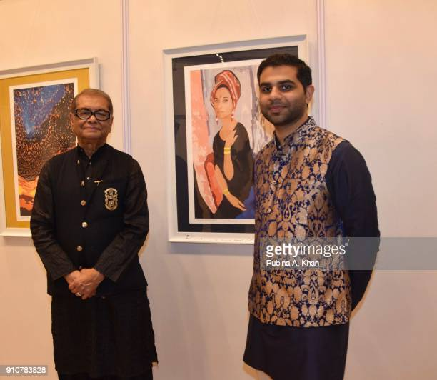 Artist Dilip De and his soninlaw Sahil Sheth at De's Smartphone School Of Art Exhibit 'Celebration Of The Unexpected' at Jehangir Art Gallery on...