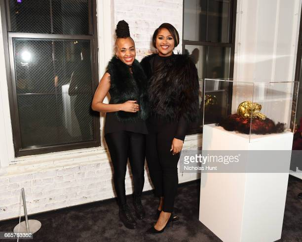 Artist Doreen Garner and Jazmine Sullivan attend HBO's The HeLa Project Exhibit For The Immortal Life of Henrietta Lacks on April 6 2017 in New York...