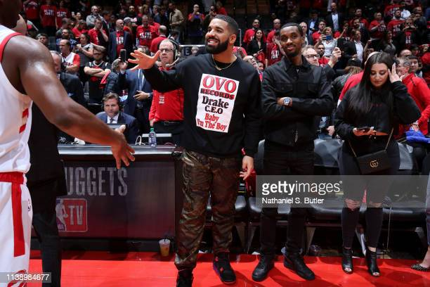 Artist Drake and Future The Prince are seen at the game between the Toronto Raptors and the Orlando Magic during Game Five of Round One of the 2019...