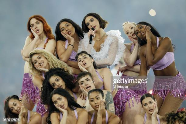 artist Dua Lipa during the UEFA Champions League final between Real Madrid and Liverpool on May 26 2018 at NSC Olimpiyskiy Stadium in Kyiv Ukraine