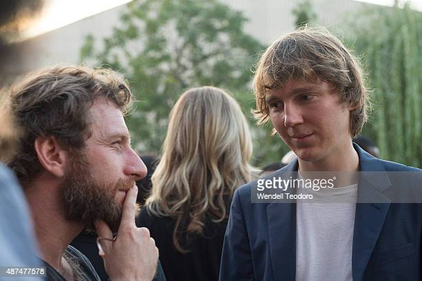 Artist Dustin Yellin and actor Paul Dano photographed during the cocktail reception before the Rachel Comey fashion show at Pioneer Works on...