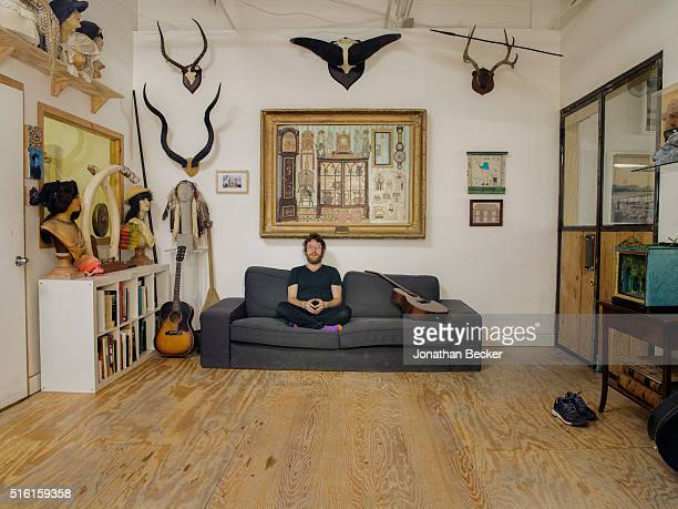 Artist Dustin Yellin is photographed for Vanity Fair on May 7 2015 in his Red Hook studio in Brooklyn New York PUBLISHED IMAGE