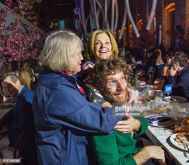 Artist Dustin Yellin is photographed with a friend and mother Jackie for Vanity Fair on May 4 2015 at the second annual Pioneer Works Village FÍte in...