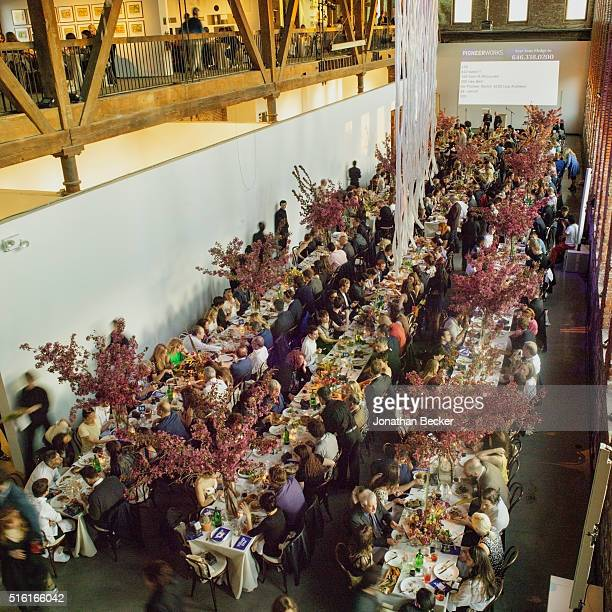 Artist Dustin Yellin's Pioneer Works Village FÍte dinner is photographed for Vanity Fair on May 4 2015 in Brooklyn New York PUBLISHED IMAGE