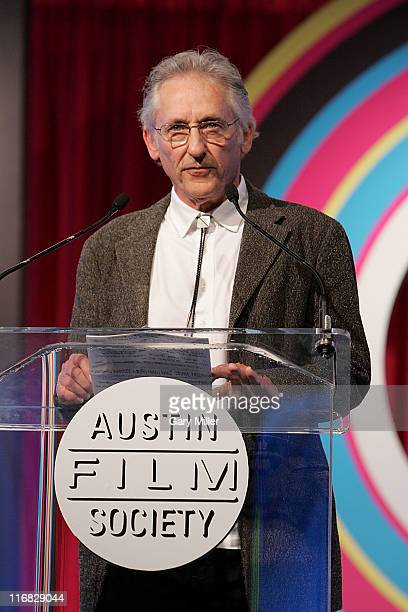 Artist Ed Ruscha presents Michael Nesmith of the Monkees with the Warren Skaaren Lifetime Achievement award during the Texas Film Hall Of Fame...