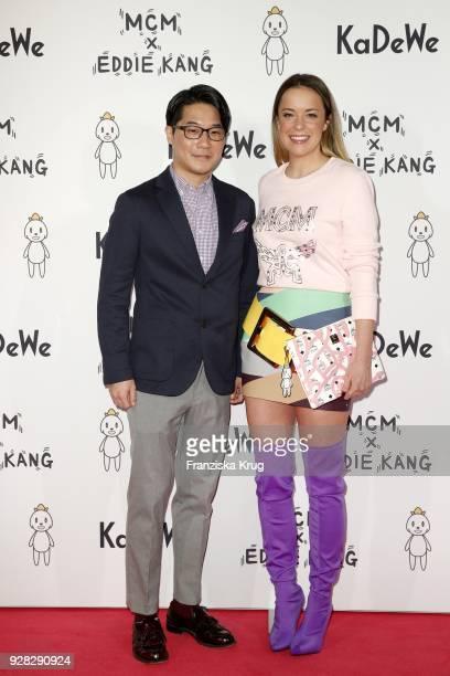 Artist Eddie Kang and Marina Hoermanseder during the MCM X Eddie Kang launch event at KaDeWe on March 6 2018 in Berlin Germany