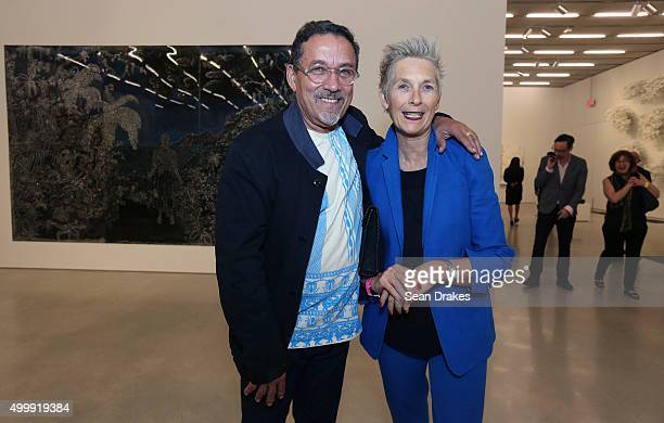 Artist Edouard DuvalCarrie and Nina Duval at Perez Art Museum Miami during Art Basel Miami Beach in Miami Florida on Thursday December 3 2015