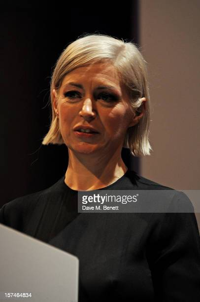 Artist Elizabeth Price accepts the Turner Prize 2012 at the winner announcement held at the Tate Britain on December 3 2012 in London England