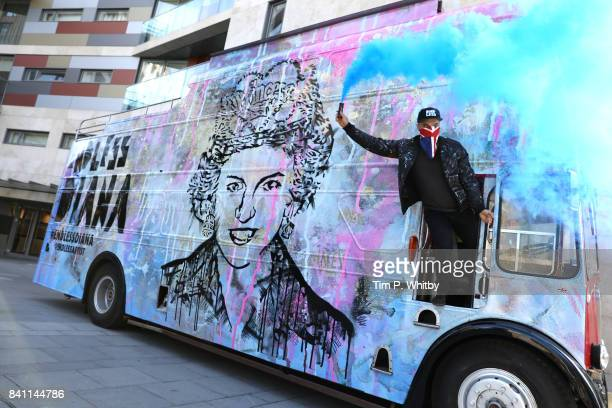 Artist Endless pays tribute to Princess Diana on the 20 year anniversary of her death involving a vintage Routemaster bus and military brass band at...