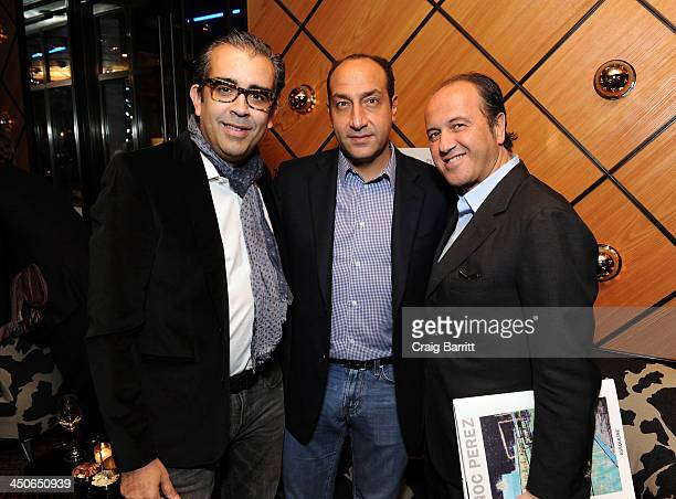 Artist Enoc Perez Art Collector Alberto Mugrabi and Founder of Assouline Publishing Prosper Assouline attend Acquavella Galleries Hosts a Book Launch...