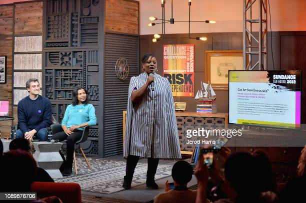Artist Eric Gottesman author Tanya Selvaratnam and artist Patrisse Cullors speak during the Can Art Save Democracy Panel during the 2019 Sundance...