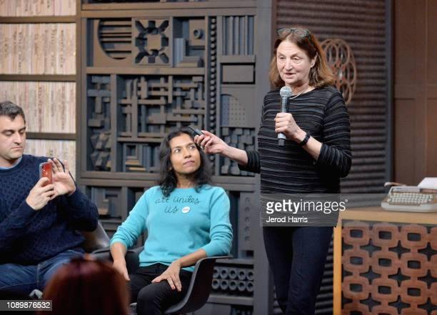 Artist Eric Gottesman author Tanya Selvaratnam and photographer Susan Meiselas speak during the Can Art Save Democracy Panel during the 2019 Sundance...