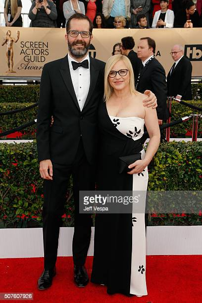 Artist Eric White and actress Patricia Arquette attend the 22nd Annual Screen Actors Guild Awards at The Shrine Auditorium on January 30 2016 in Los...
