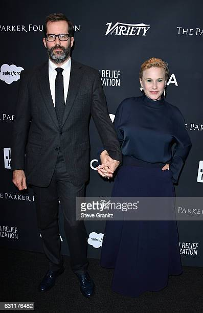 Artist Eric White and actress Patricia Arquette attend the 6th Annual Sean Penn Friends HAITI RISING Gala Benefiting J/P Haitian Relief Organization...