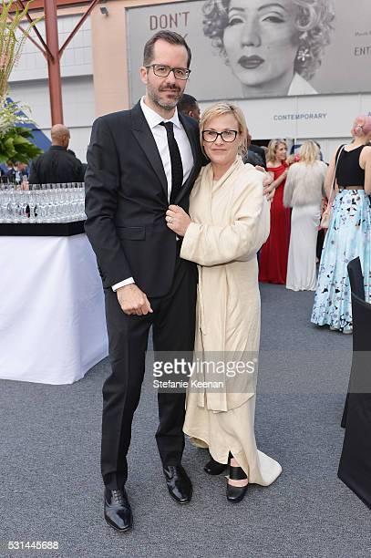 Artist Eric White and actress Patricia Arquette attend the MOCA Gala 2016 at The Geffen Contemporary at MOCA on May 14 2016 in Los Angeles California