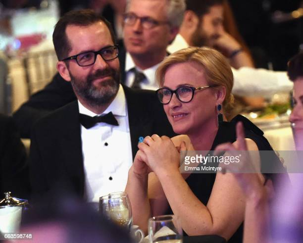 Artist Eric White and Vanguard Award recipient Patricia Arquette attend 28th Annual GLAAD Media Awards in LA at The Beverly Hilton Hotel on April 1...