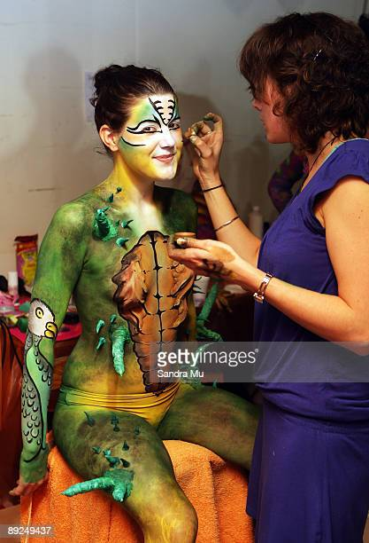 Artist Erin Harrison works on model Chelsea McKeown Miller backstage during the New Zealand Body Art Awards at the Bruce Mason Centre on July 25 2009...
