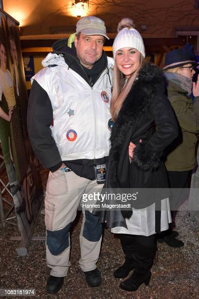 Artist Felix Hoerhager and Wiesn Playmate 2018 Julia Prokopy attend the Angermaier 'Eisstock WM' at Park Cafe on January 15 2019 in Munich Germany
