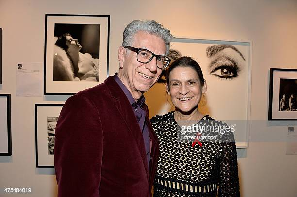 Artist Firooz Zehedi and Aileen Getty attend The Elizabeth Taylor AIDS Foundation Art Auction Benefit Presented By Wilding Cran Gallery on February...