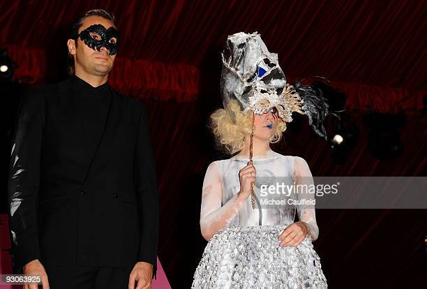 Artist Francesco Vezzoli and singer Lady Gaga attend the MOCA NEW 30th anniversary gala held at MOCA on November 14 2009 in Los Angeles California