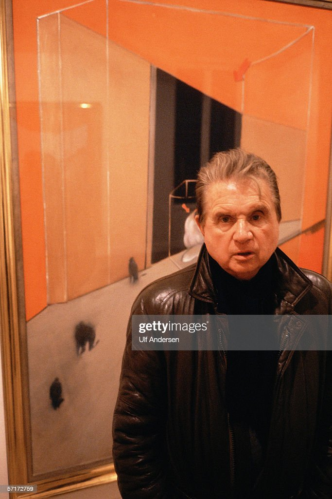 Artist Francis Bacon at the opening of his exhibition in Paris,France during January of 1984.