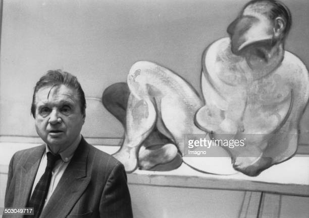 Artist Francis Bacon at the Tate Gallery in London. . Photograph.