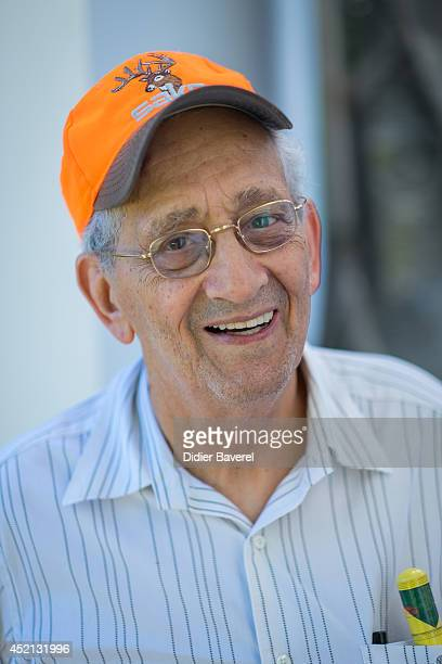 Artist Frank Stella pose in front of his Art work Stella's Chapel at the Bernar Venet's Art foundation on July 11 2014 in Le Muy France