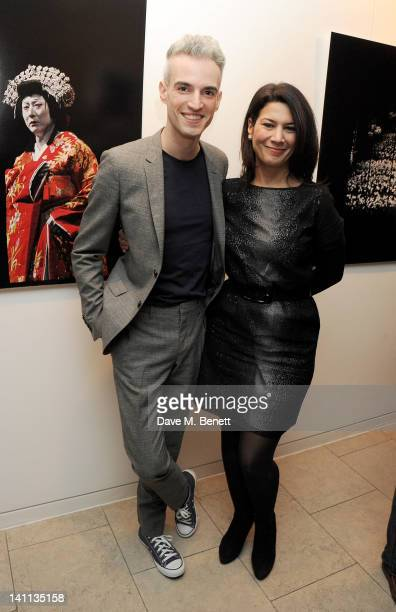 Artist Frederic Aranda and Sue Walter attend a private view of 'Kabuki One Year On' a photographic exhibition by Frederic Aranda to benefit the Japan...