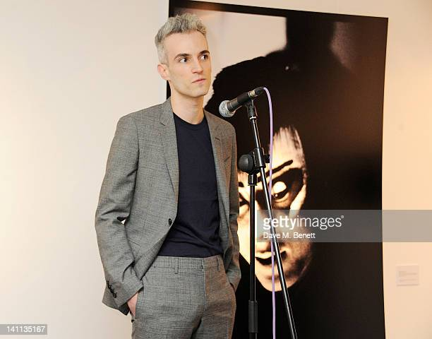 Artist Frederic Aranda speaks at a private view of 'Kabuki One Year On' a photographic exhibition he created to benefit the Japan Society Tohou...