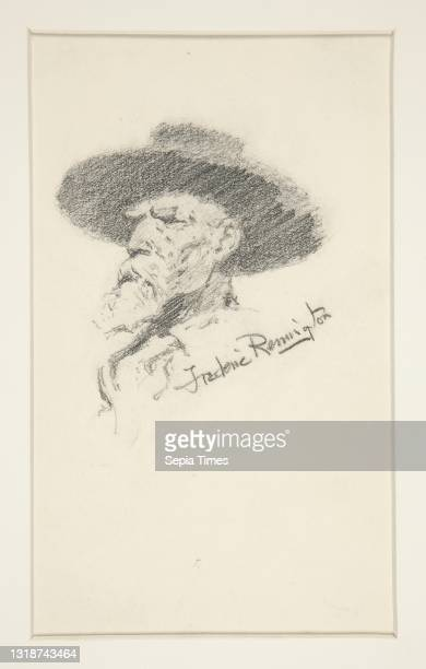 Frederic Remington, American, 1861–1909, B.F.A. Head of a man, Graphite, 17.7 × 10.5 cm , Made in United States, American, 19th century, Works on...